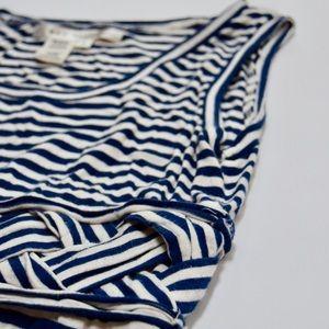 Max Studio Dresses - Max Studio Navy Blue White Striped Maxi Dress M